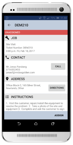SOLID mobile app job detail screen