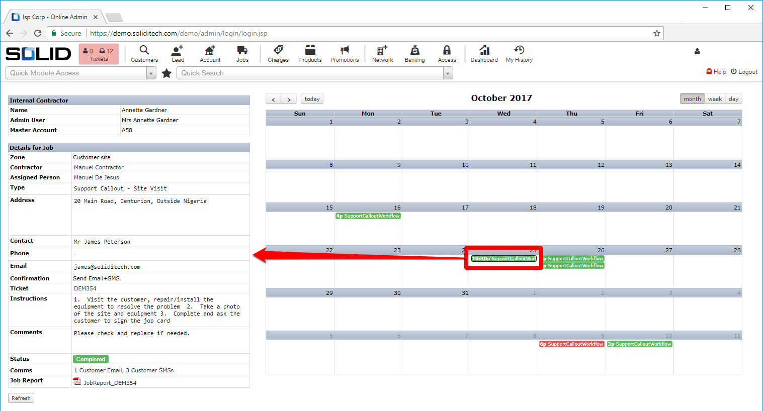 Calendar view with annotations