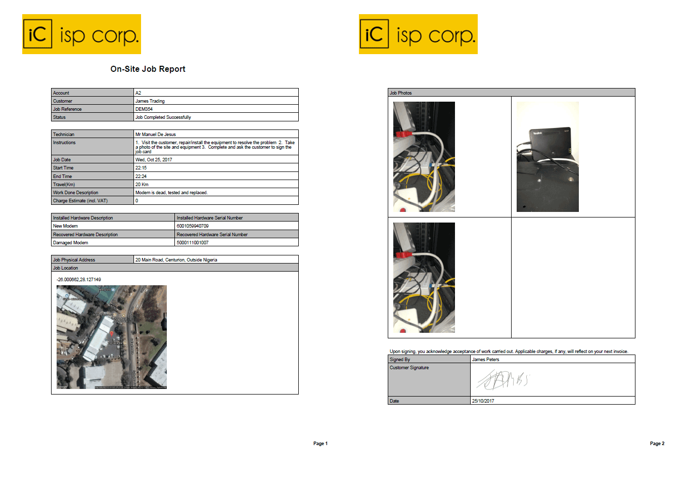 Job Reports with photos and customer signature