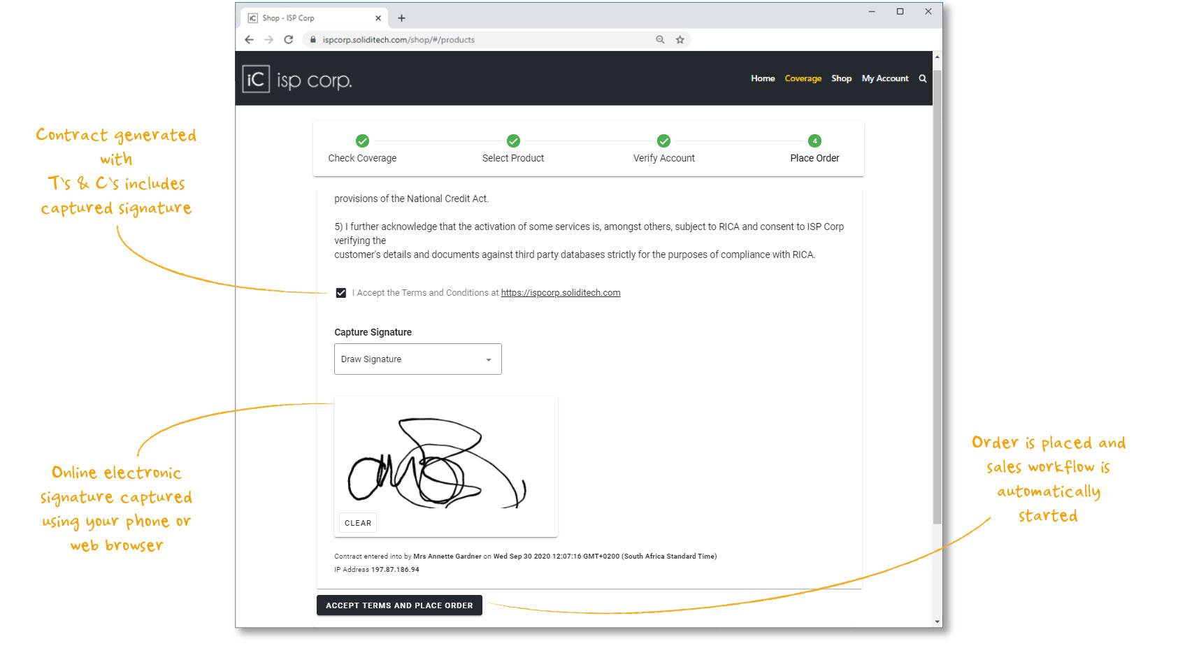 Website signature capture